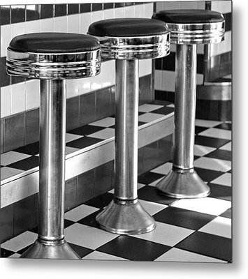 Diner Stools Metal Print by Lisa Phillips
