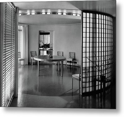 Dining Room In Mr. And Mrs. Alfred J. Bromfield Metal Print by Hedrich-Blessing