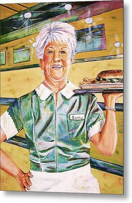 Dinner Betty Metal Print by Linda Vaughon