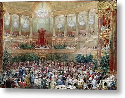 Dinner In The Salle Des Spectacles At Versailles Metal Print by Eugene-Louis Lami
