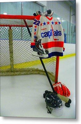 Dino Ciccarelli Washington Capitals Vintage Home Hockey Jersey Metal Print by Lisa Wooten