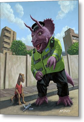 Dinosaur Community Policeman Helping Youngster Metal Print by Martin Davey