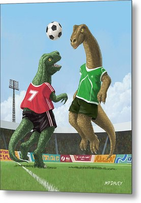Dinosaur Football Sport Game Metal Print by Martin Davey