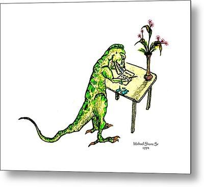 Dinosaur Get Well Sorry Miss You Condolences Sympathy Blank Metal Print by Michael Shone SR