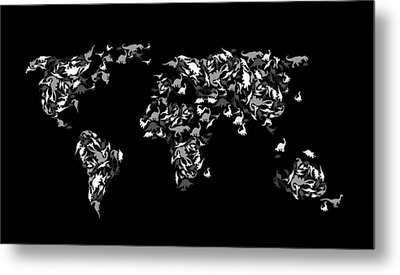 Dinosaur Map Of The World 3 Metal Print by Mark Ashkenazi