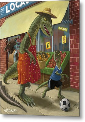 Dinosaur Mum Out Shopping With Son Metal Print by Martin Davey
