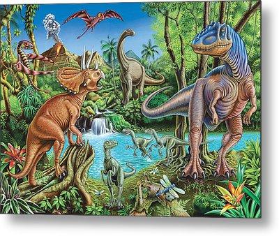Dinosaur Waterfall Metal Print