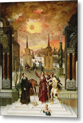 Dionysius The Areopagite Converting The Pagan Philosophers, 1570s Oil On Panel Metal Print by Antoine Caron