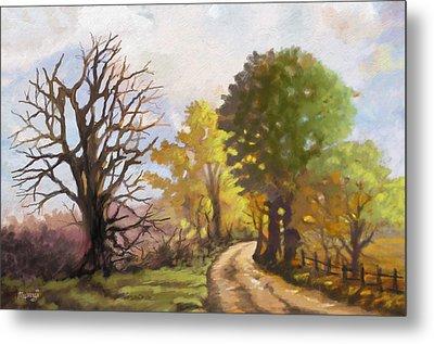 Metal Print featuring the painting Dirt Road To Some Place by Anthony Mwangi
