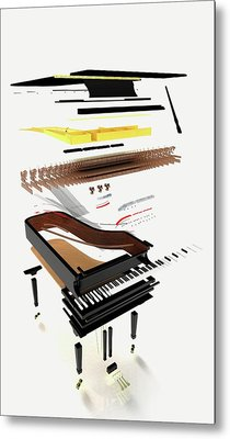 Disassembled Parts Of A Grand Piano Metal Print