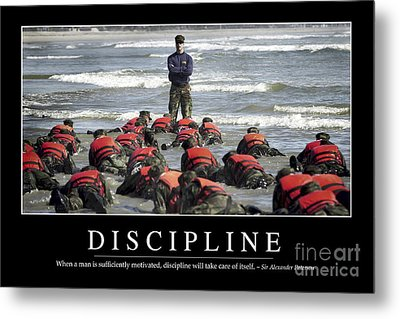 Discipline Inspirational Quote Metal Print
