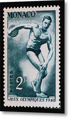 Discus Vintage Postage Stamp Print Metal Print by Andy Prendy
