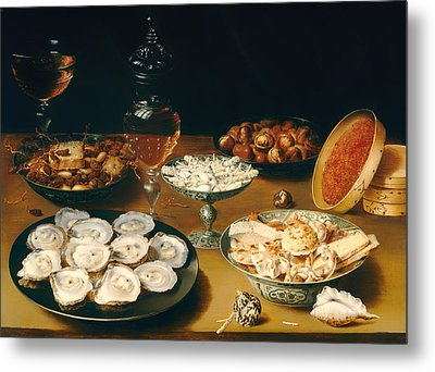 Dishes With Oysters Fruit And Wine Metal Print by Mountain Dreams