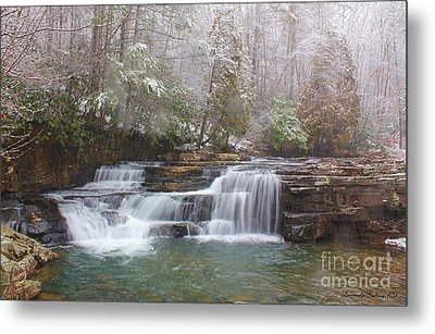 Metal Print featuring the photograph Dismal Falls In Winter by Laurinda Bowling