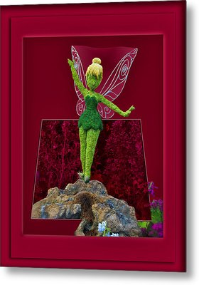 Disney Floral Tinker Bell 02 Metal Print by Thomas Woolworth