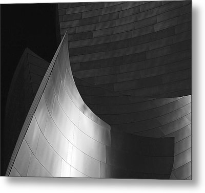 Disney Hall Abstract Black And White Metal Print by Rona Black