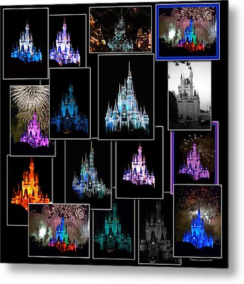 Disney Magic Kingdom Castle Collage Metal Print