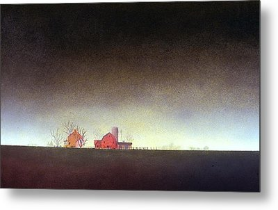 Metal Print featuring the painting Distant Farm by William Renzulli