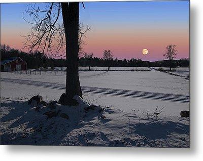 Metal Print featuring the photograph Distant Winter Moonrise by Larry Landolfi