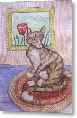Distracted Cat Metal Print by Cherie Sexsmith