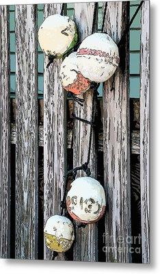 Distressed Buoys On Fencing Key West - Digital Metal Print by Ian Monk