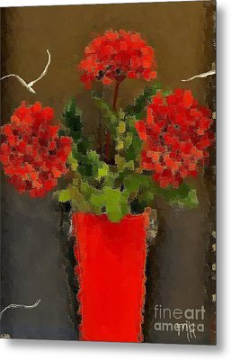 Distressed Red Flowers Pictures Metal Print by Marsha Heiken