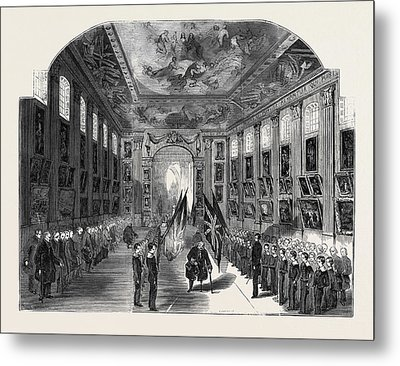 Distribution Of The Nelson Medals, In The Painted Hall Metal Print by English School