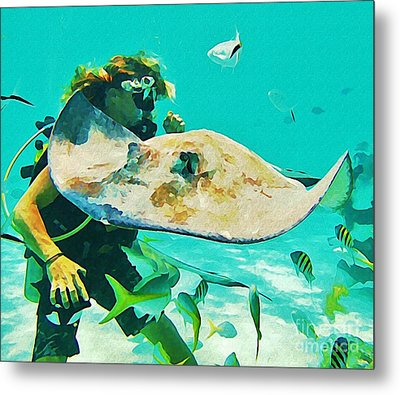 Diver And Stingray Metal Print by John Malone