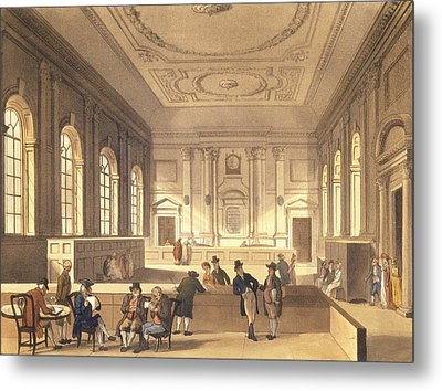 Dividend Hall At South Sea House Metal Print by T Rowlandson
