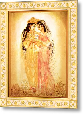 Metal Print featuring the mixed media Divine Love by Ananda Vdovic