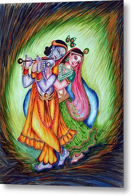 Metal Print featuring the painting Divine Lovers by Harsh Malik