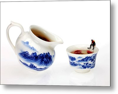 Diving Among Blue-and-white China Miniature Art Metal Print by Paul Ge