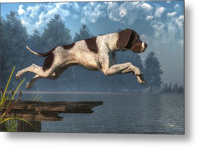 Diving Dog Metal Print by Daniel Eskridge