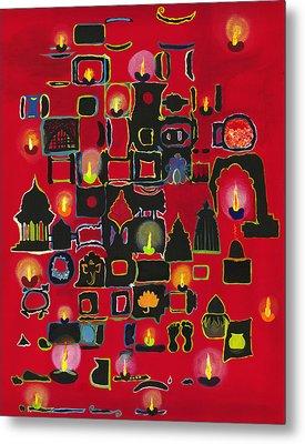 Diwali Diyas Metal Print by Alika Kumar