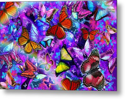 Dizzy Colored Butterfly Explosion Metal Print by Alixandra Mullins