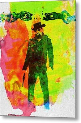 Django Unchained Watercolor Metal Print by Naxart Studio