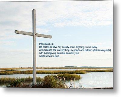 Belin Church Cross At Murrells Inlet With Bible Verse Metal Print