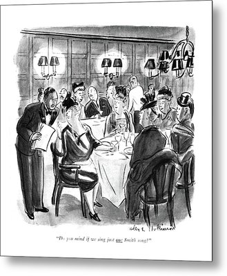 Do You Mind If We Sing Just One Smith Song? Metal Print by Helen E. Hokinson