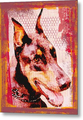Doberman Love Metal Print