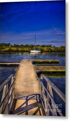 Dock And Boat Metal Print by Marvin Spates