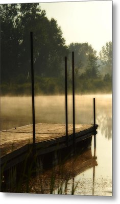 Dock In The Mist Metal Print by Kimberleigh Ladd
