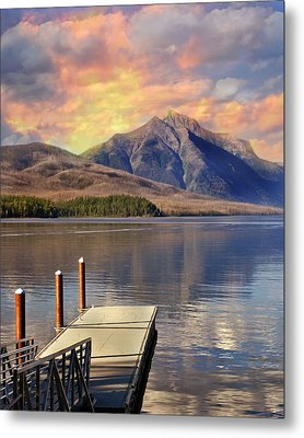 Metal Print featuring the photograph Dock On Lake Mcdonald by Marty Koch