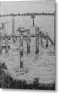 Dock Sketch Metal Print by Megan Dirsa-DuBois
