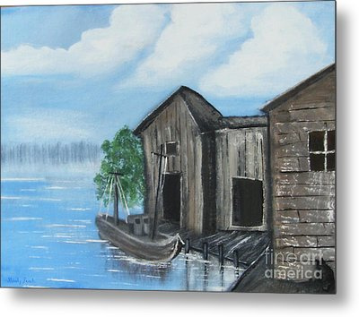 Metal Print featuring the painting Docked At Bayou by Mindy Bench
