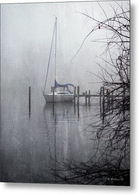 Docked In The Fog - Texture Effect Metal Print by Brian Wallace