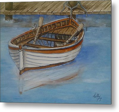 Docked Rowboat Metal Print by Kelly Mills
