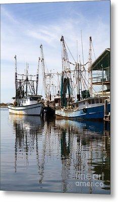 Docked Shrimp Boats Metal Print
