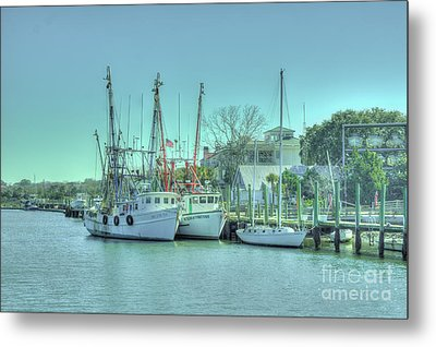 Docked Shrimp Boats Metal Print