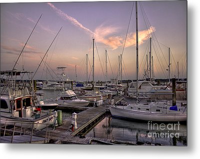 Dockside Sunset In Beaufort South Carolina Metal Print by Reid Callaway