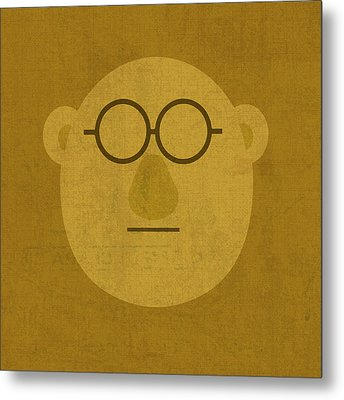 Doctor Bunson Honeydew Vintage Minimalistic Illustration On Worn Distressed Canvas Series No 004 Metal Print